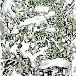 家在綠樹中 (68x136cm)