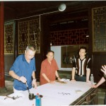 Performing calligraphy at Shuanggui Hall in Chongqing