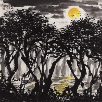 紅樹林之夜 (68x68cm)